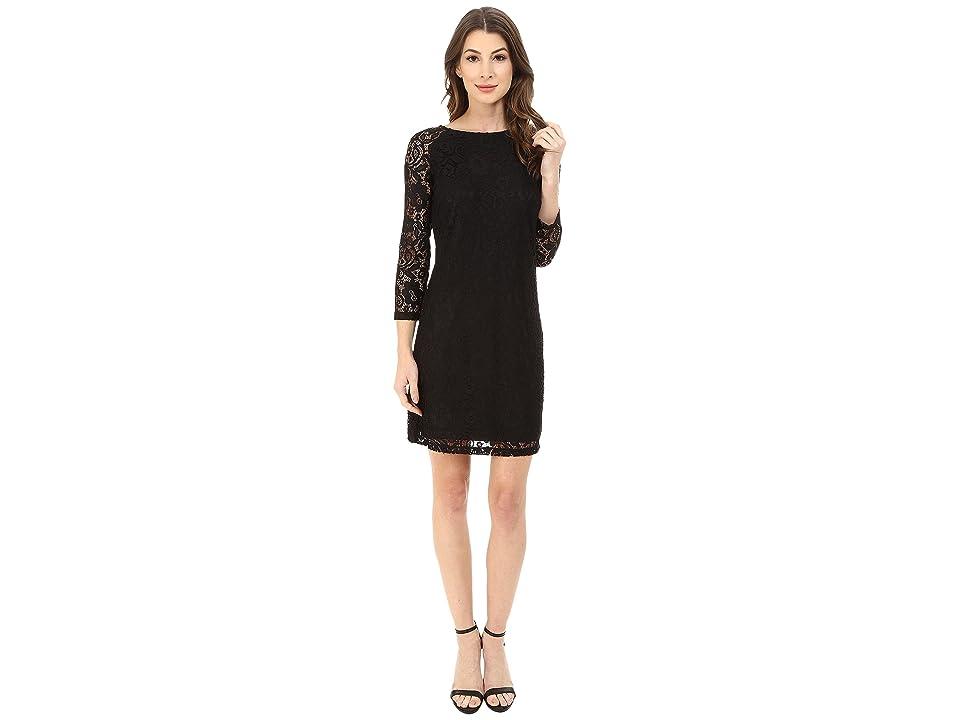 Laundry by Shelli Segal Lace T-Body 3/4 Sleeve Dress (Black) Women