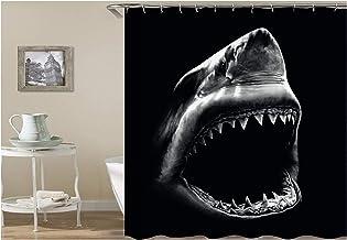 AMDXD Bathroom Curtains for Shower Shark Shower Curtain Black Bath Curtains120x180CM
