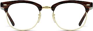 Vintage Inspired Classic Half Frame Horn Rimmed Clear Lens Glasses