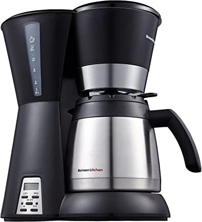 Bonsenkitchen CM8761 8 Cup One-Touch Coffee Maker with Stainless Steel Vacuum Thermal Carafe 4.2oz (1.2L) & Permanent Filter