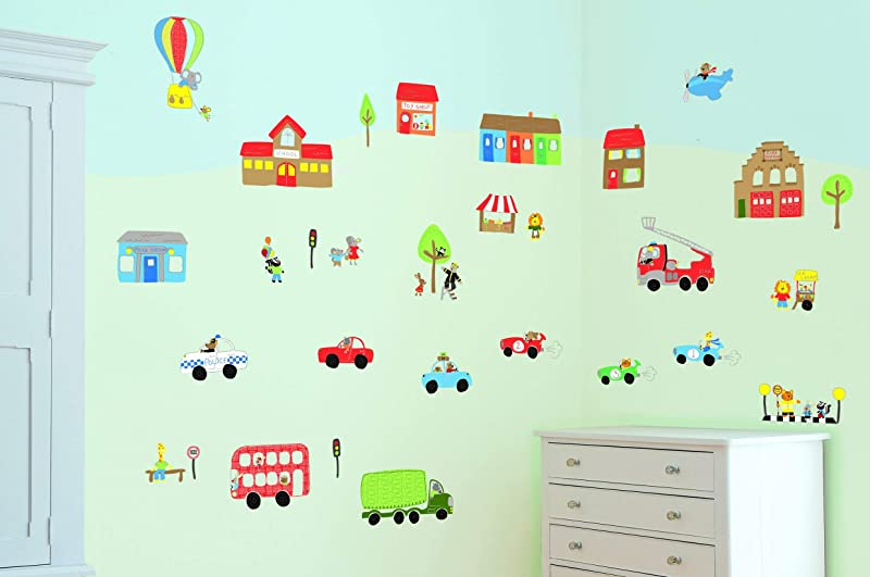 FunToSee 10 Count Nursery Wall Decal Kit Jolly Town