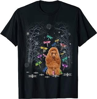 Cute Poodle Snow Christmas Dragonfly Xmas Pajamas T-Shirt