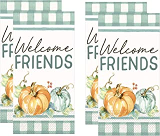 Fall Themed Guest Towels Paper Napkins Dinner Buffet Sized Welcome Friends Buffalo Plaid Pack of 2 (32 Total Napkins)