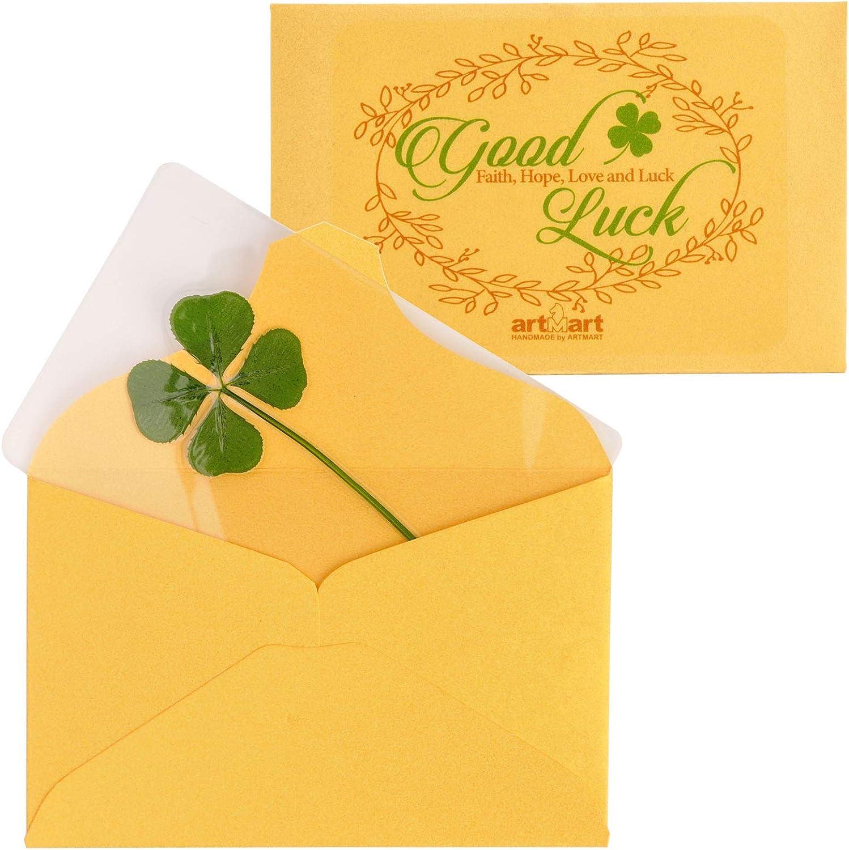 ARTMART Reservation Genuine Real Four-Leaf unisex Green Saint Clover D St. Patric's