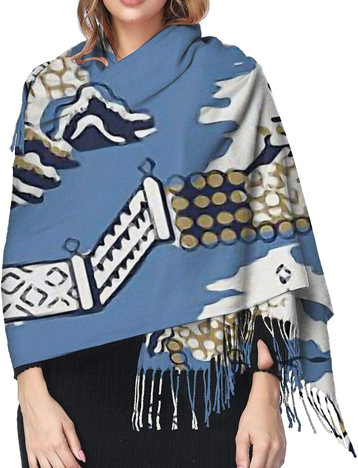 Blue & White China Blue Willow Cashmere Scarf Fashion Long Shawl with Fringed Edges Super Soft Warm Cozy Light Blanket Scarves Wrap Ultra Warm Winter Accessories Gifts For Men And Women