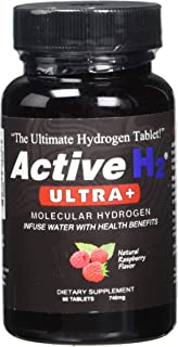 Active H2 Ultra+ Natural Raspberry Flavored Molecular Hydrogen Additive for Water, Infuse Water with Health Benefits 60 Tablets, 740mg (1 Bottle)