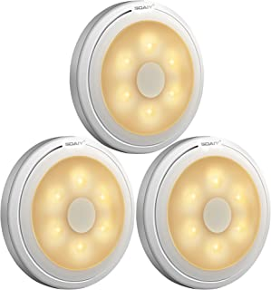 SOAIY Battery Powered Ultra-Thin Touch Sensor LED Cabinet Lights, Magnet Stick-on Closet Light, LED Tap Night Lights for Kitchen, Bedroom, Stairs, Bar, Car, 3 Packs, Warm White