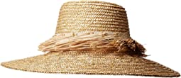 WSH1205 - Wheat Straw Hat with Raffia Fray Trim