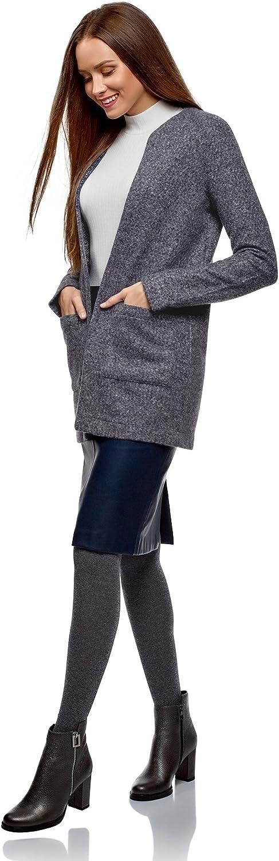 oodji Ultra Damen Cardigan aus Strukturiertem Stoff mit Seitentaschen Blau (7910n)