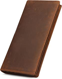 Men's Vintage Genuine Leather Long Wallet for Checkbook, Credit Cards