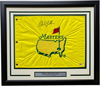 Phil Mickelson Signed Framed 20x24 Undated Embroidered Masters PGA Flag BAS H19906