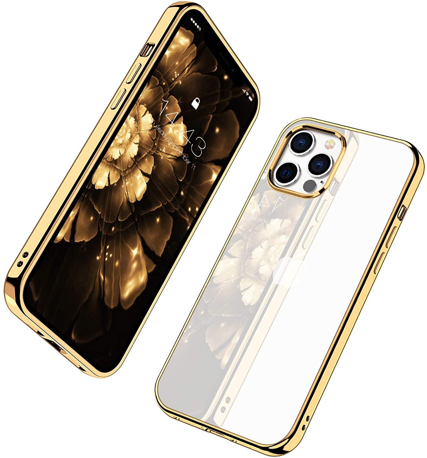 MILPROX Compatible for iPhone 12 Case and for iPhone 12 Pro Clear Cases (2020), Crystal Transparent Shockproof Shell Protective Bumper Electroplated Cover- Gold