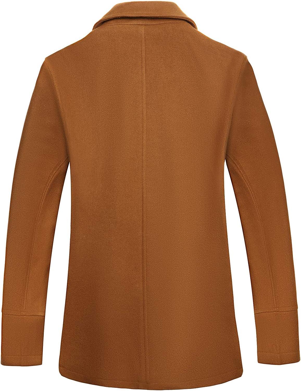 VICALLED Men Winter Double Breasted Belted Pea Coat Outdoor Woolen Warm Jacket