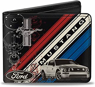 Buckle-Down Wallet Mustang Tri-bar Logo/diagonal Stripe/blueprint Black/Accessory