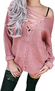 Women Sweaters Sexy Off Shoulder Lace up Knitted Pullover Sweater Casual Mini Dress Tunic Tops Shirts
