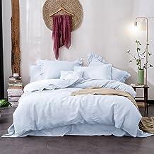 Merryfeel Linen Quilt Cover Set,100% Pure French Linen Doona Cover Set,Luxurious Bedding Set 3 Pieces- Light Blue-Queen Set