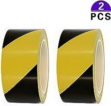 Cinta adhesiva de advertencia de peligro, 2 rollos, 48 mm x 33 m, color negro, amarillo, a rayas, de PVC, para marcar