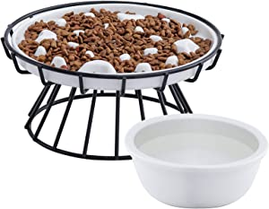 Upgraded Slow Feeder Cat Bowl with Stand and Water Bowl, Ceramic Raised Cat and Small Dog Puzzle Food Dish, Anti Vomiting Elevated Pet Feeding Dish, Against Bloat, Indigestion, White, Set of 3