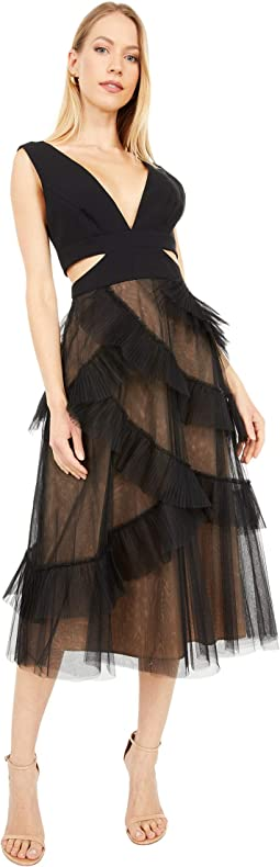 BCBGMAXAZRIA Womens Square Neck Evening Midi Dress