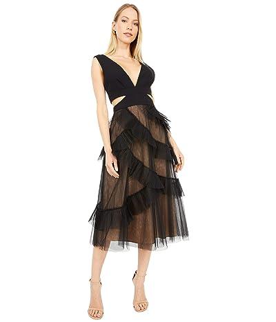 BCBGMAXAZRIA Cutout Tulle Midi Dress (Black) Women