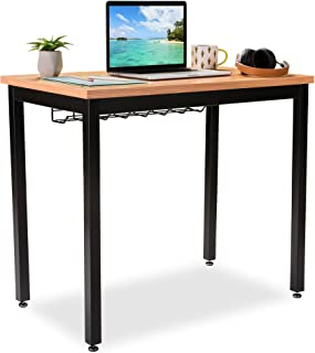 """Small Computer Desk for Home Office - 36"""" Length Table w/Cable Organizer - Sturdy and Heavy Duty Writing Desk for Small Spaces and Students Laptop Use - Damage-Free Promise (Pear)"""