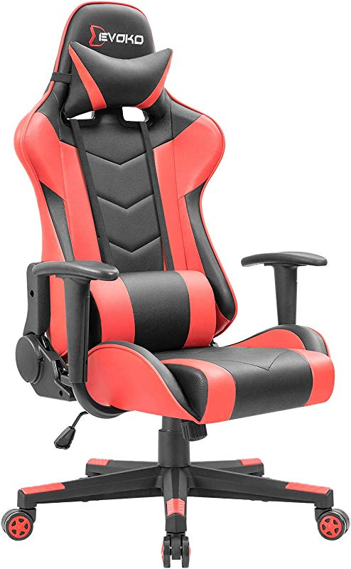 Devoko Ergonomic Gaming Chair Racing Style Adjustable Height High Back PC Computer Chair With Headrest And Lumbar Support Executive Office Chair Red