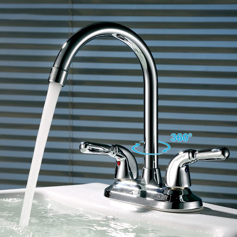 MEILING Full Copper Basin Faucet Double Hole Double Open High Bend Faucet