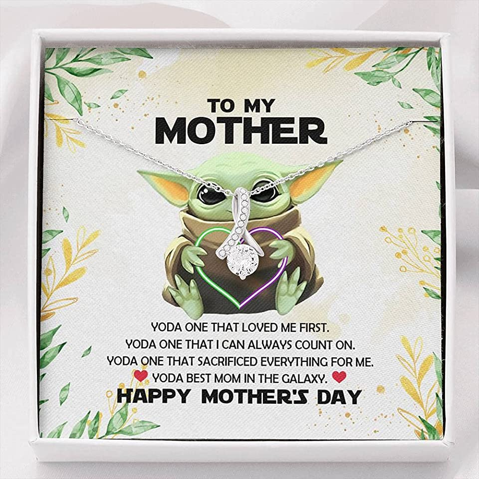 Baby Yoda To My Mother Yoda Best Mom In The Galaxy Happy Mother's Day Alluring Beauty Necklace Luxury Jewelry On Birthday, Christmas, Mother's Day Gift with Message Card and Gift Box
