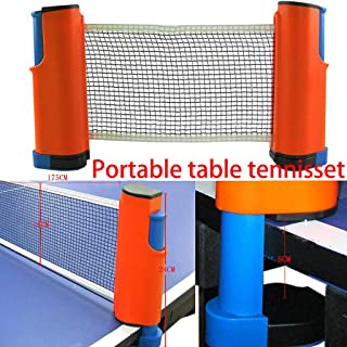 Simplylin Indoor Games Retractable Table Tennis Ping-Pong Portable Net Kit Replacement Set (Orange)