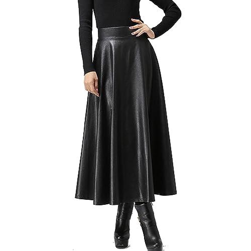 98f8485e1f Zeagoo Women's Synthetic Leather High Waist Midi Long A-Line Swing Skater  Skirt