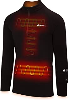 Venture Heat Men`s Heated Shirt Thermal Underwear with Battery Pack - Long John, 1/4 Zip Electric Base Layer, Nomad (XL, Black)