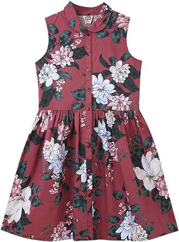 Cub McPaws Girls Maroon Sleeveless Shirt Dress Big Floral Print 4 to 12 Years