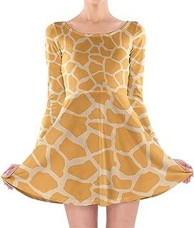 Rainbow Rules Bright Giraffe Print Longsleeve Skater Dress