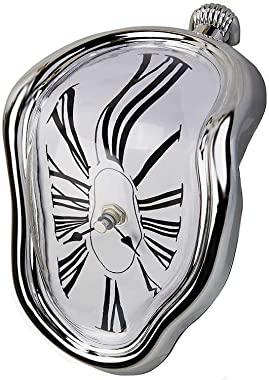 FAREVER Melting Clock, Salvador Dali Watch Melted Clock for Decorative Home Office Shelf Desk Table Funny Creative Gift, Silv