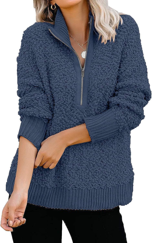 GRAPENT Womens Casual Zipper Max 80% OFF Fleece Sleeve Sweater Long Pullover Popular standard