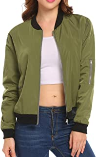 HOTOUCH Women's Bomber Jacket Classic Zip Up Biker Vintage Short Jacket+Pockets