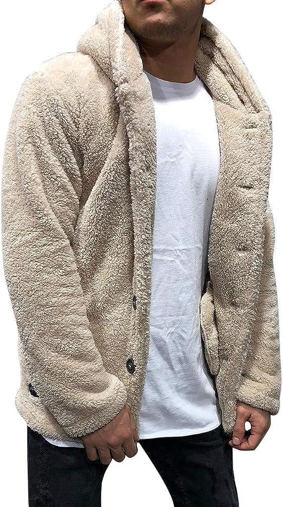 2021 Winter Warm Men Thick Hoodies Tops Fluffy Fleece Fur Hooded Coat Outerwear Long Sleeve Cardigans Sweatshirts
