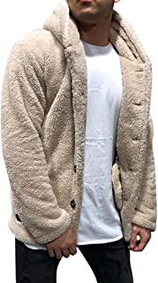 F_Gotal Mens Fluffy Hoodie Sweaters Autumn Fleece Cardigan with Button Lightweight Fashion Casual Teddy Coat Winter Warm