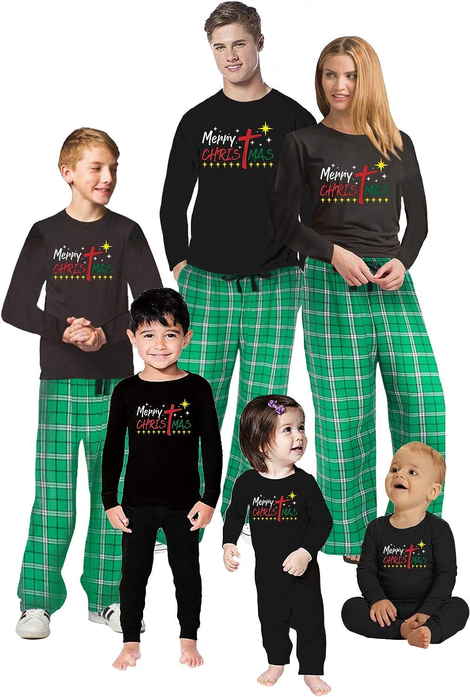 Matching Christian Christmas PJs for Family - Religious Jesus Christmas Holiday Pajamas Men PJ Set Merry Christmas XL