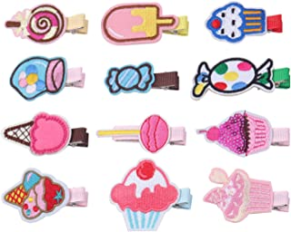 KOONY Baby Girls Hair Clips Cartoon Design Embroidered Patches Barrettes 12pc