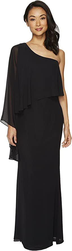 Laundry by Shelli Segal - One Shoulder Popover Chiffon Gown