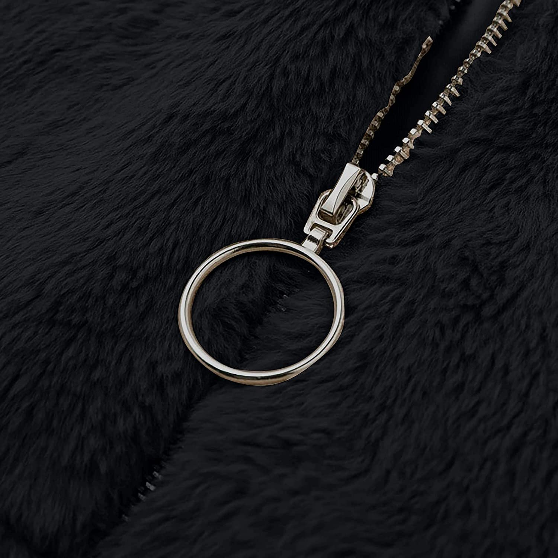 HXHYQKP Crop Winter Coats for Women Sherpa Jacket Casual Lapel Fleece Fuzzy Faux Shearling Zipper Coat Oversized Outwear