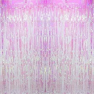 Blukey Foil Fringe Backdrop Metallic Tinsel Curtain 3ftx8ft (Set of 2), Iridescent White