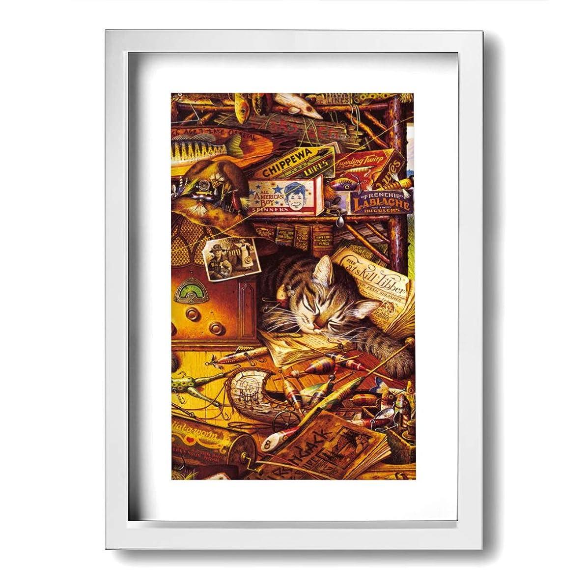 徐々にレッスン第四ホームデコレーション 壁の芸術 ボヘミアン猫 かわいい ユーティリティルーム モダンアート キャンバス絵画 リビングルーム 額縁付きの完成品 絵画 軽くて取り付けやすい (木枠付22x33 Cm)