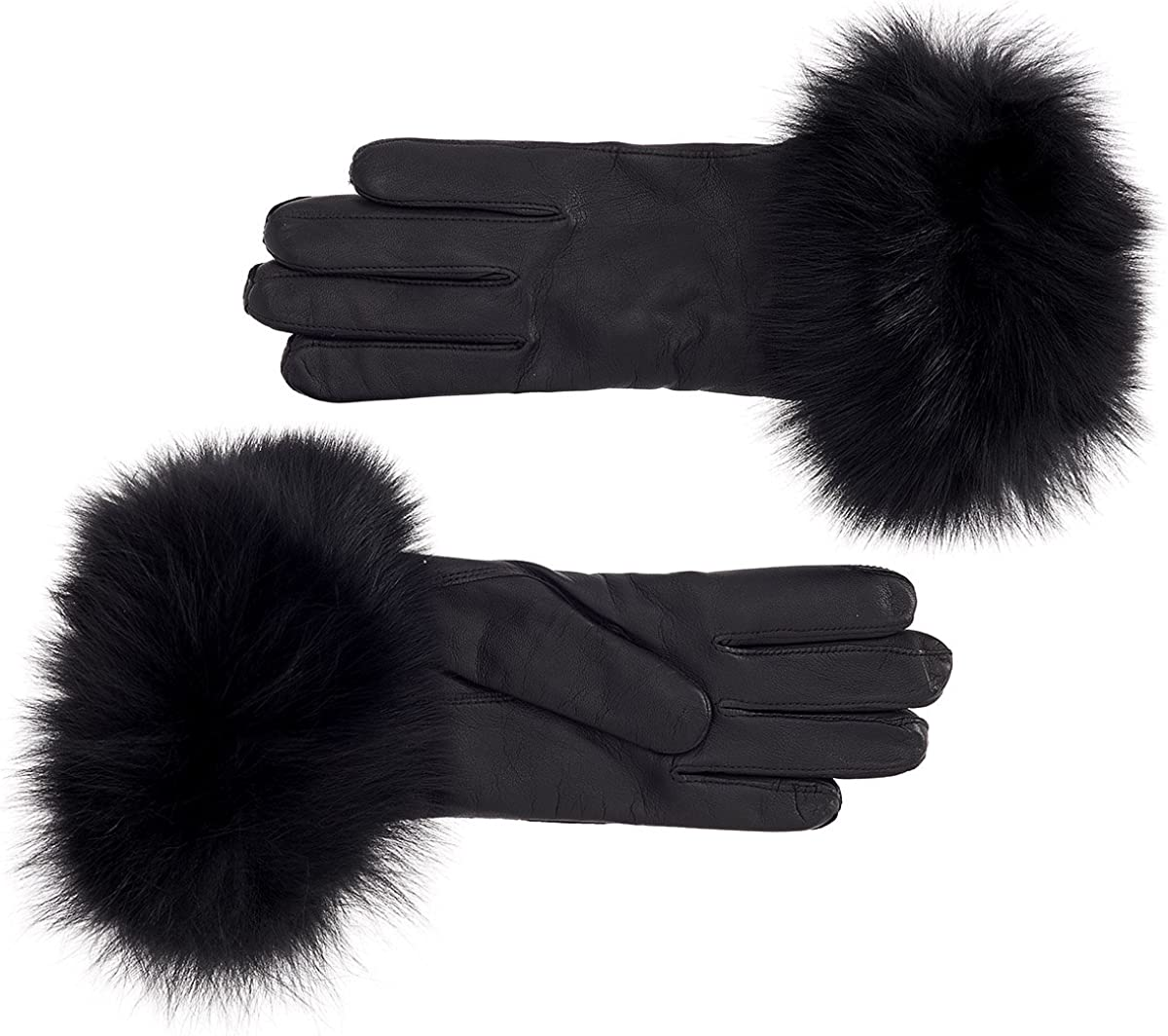 Women's Rabbit Fur Lined Leather Gloves (Small)