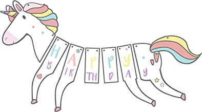Dyesplash Unicorn Happy Birthday Banner for Girls and Boys, Colorful Party Supplies Hanging Decorations with Sparkles, Gold Glitter, and Pastel Colors, Pre-Assembled and Glossy