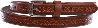 """Women's 3/4"""" (17 mm) Full Grain Leather Embossed Skinny Beveled-Edge Belt"""