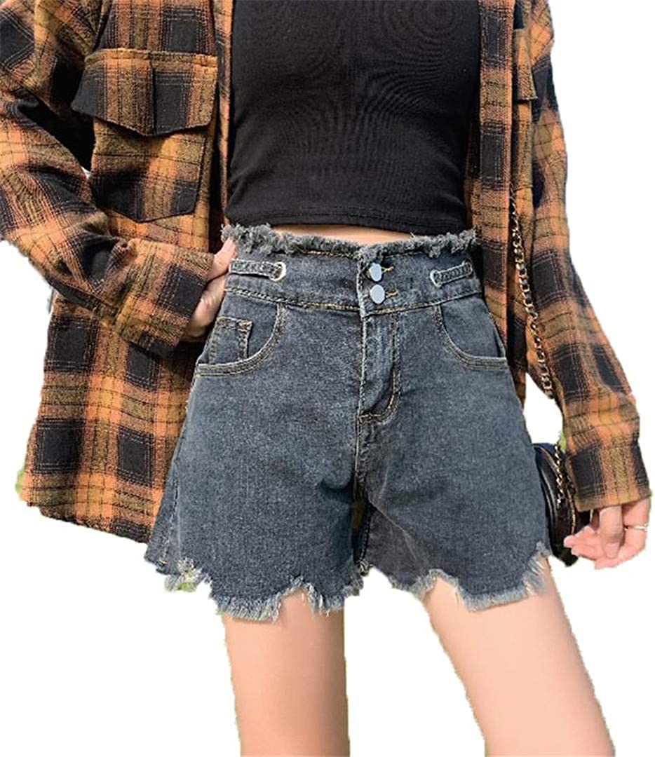 Summer Women Hole Denim Shorts Casual Single Breasted Jeans Vintage Shorts
