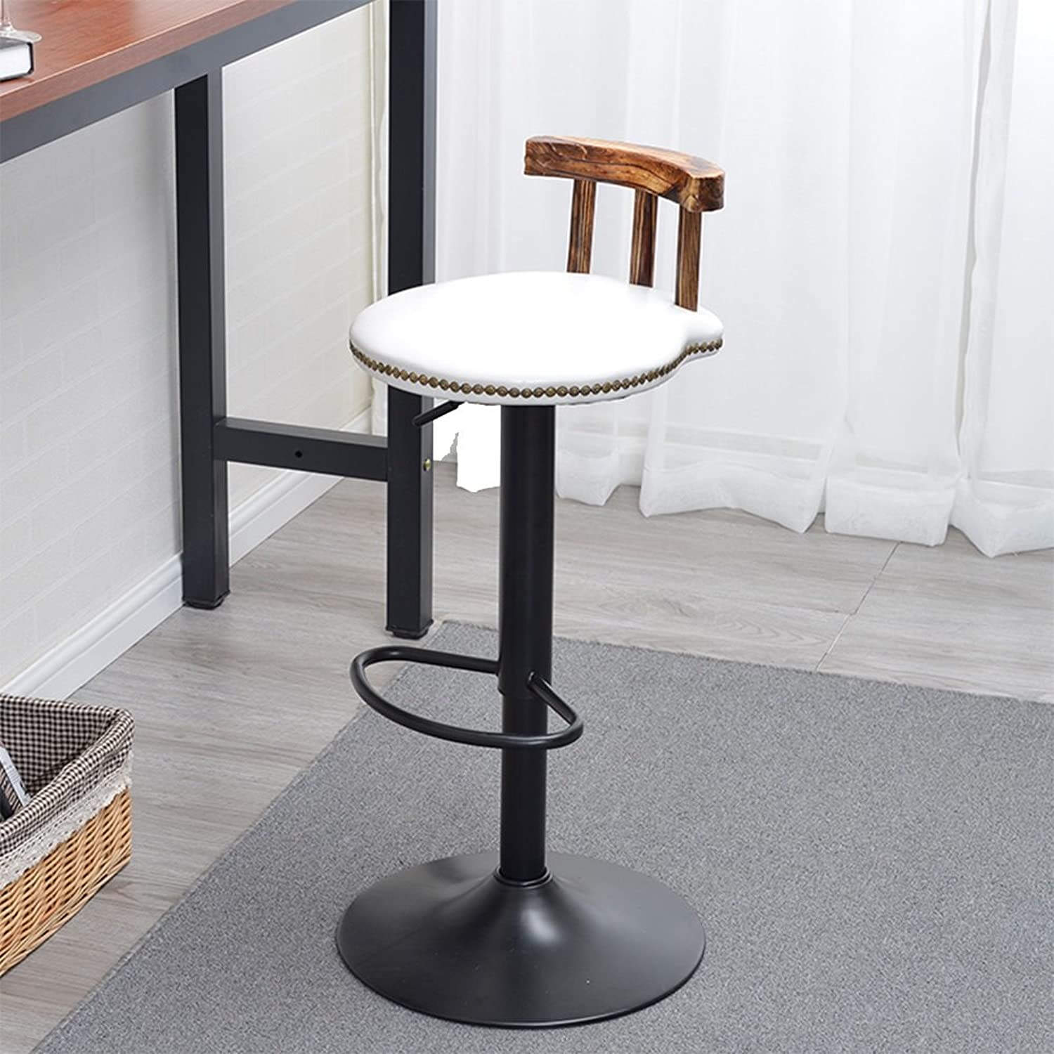 High Stool Set of 2 White Kitchen Breakfast Bar Stools Adjustable Height Seat Swivel Stool (color   10)