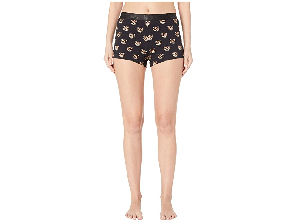 Moschino Jersey Stretch Shorts w/ Tiger Teddy Bears All Over (Black) Women